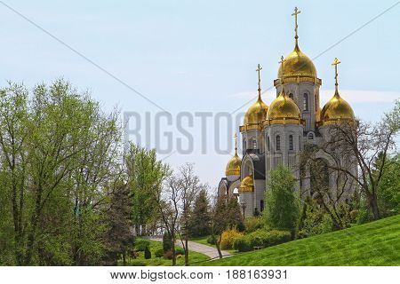 Christian church in Russian traditional architecture style