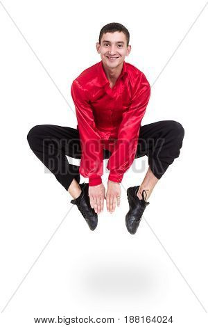 disco dancer jumping against isolated white background