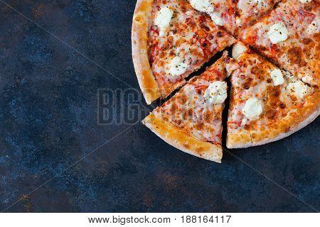 Margherita Pizza On Dark Rusty Background