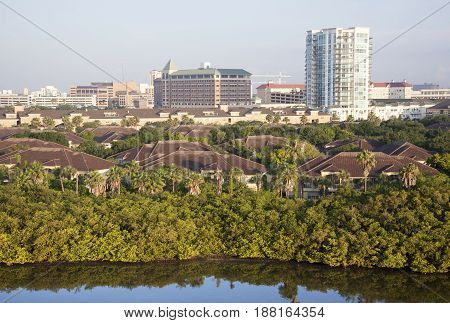 The morning view of Harbour Island residential district in Tampa city (Florida).