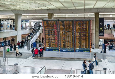 Paris, France - April 28, 2017: Arrivals and departures board at Charles de Gaulle Airport. CDG is the Europe's second-busiest airport