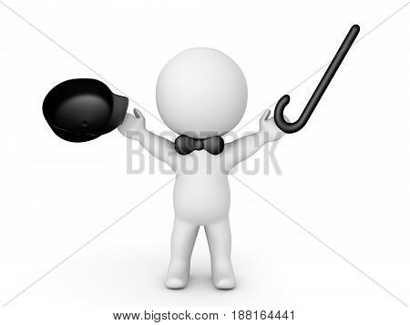 3D Character with black bow tie holding up a cane and hat. Image is happy and cheerful.