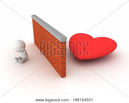 3D Character can't find love. Image conveying the idea of being unable to get a relationship.