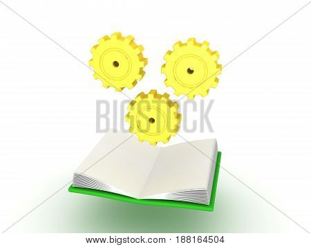 3D illustration of open book with cogs turning above it. Image depicting learning process.