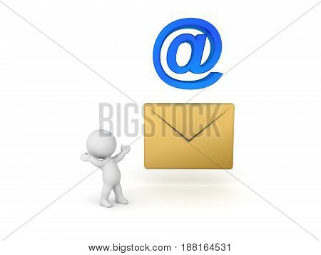 3D Character looking up at mail icon. Image related to email.