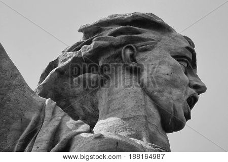 Head of the Motherland calling sculpture on Mamayev Kurgan in the city of Volgograd, former Stalingrad