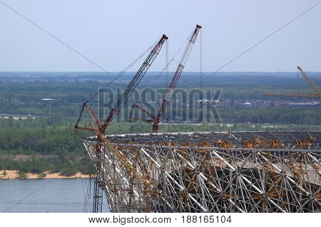 Construction site of the stadium in Rostov, Russia