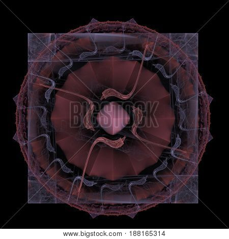 Abstract image of geometric shapes gray transparent square and bard circle forming a symbol with wavy lines and a crystal in the center on a black background.