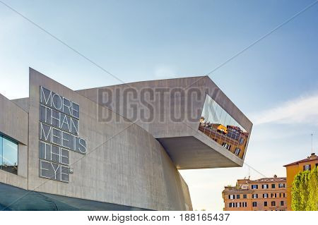 Rome Italy april 7th 2017: External view of the Maxxi National Museum. It is a national museum of contemporary art designed by British architect Zaha Hadid in 2010. Rome Italy