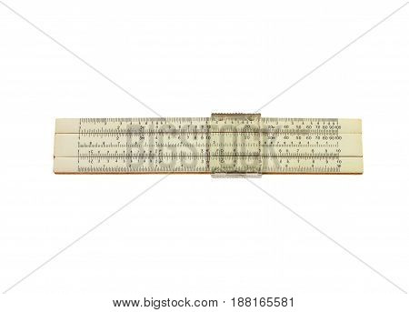 Logarithm ruler isolated on white background mechanical calculator isolated