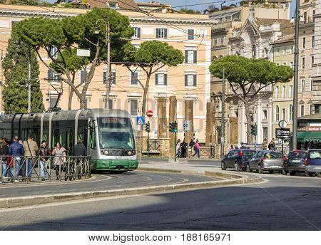 Rome Italy febraury 11th 2017: tram moving in Largo Argentina Rome