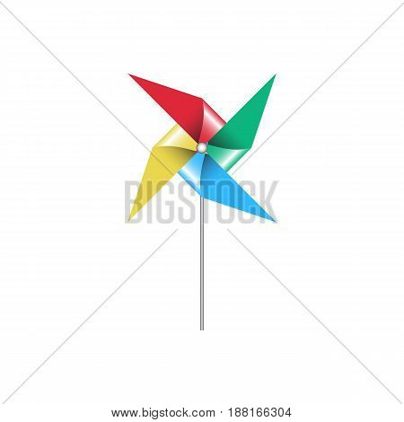 Paper windmill vector illustration isolated on white bachground