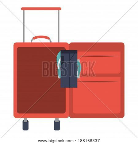 color silhouette with opened suitcase of traveler with clothes vector illustration