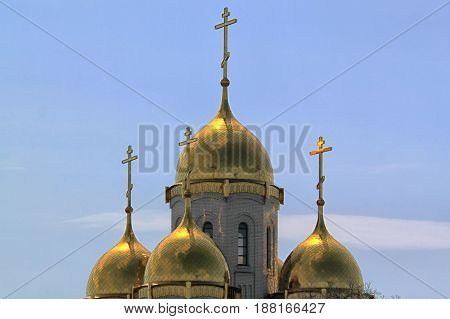 Christian church in Russian architecture traditional style