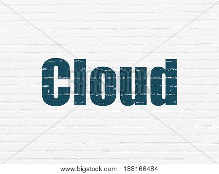 Cloud networking concept: Painted blue text Cloud on White Brick wall background