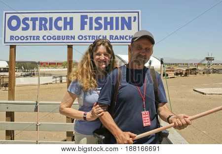 PICACHO, ARIZONA, MAY 21. Rooster Cogburn Ostrich Ranch on May 21, 2017, near Picacho, Arizona. A Couple at Rooster Cogburn Ostrich Ranch near Picacho, Arizona.