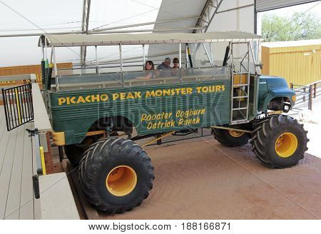PICACHO, ARIZONA, MAY 21. Rooster Cogburn Ostrich Ranch on May 21, 2017, near Picacho, Arizona. A Monster Truck, Rooster Cogburn Ostrich Ranch near Picacho, Arizona.