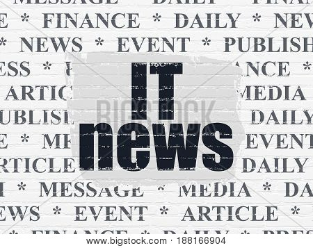 News concept: Painted black text IT News on White Brick wall background with  Tag Cloud