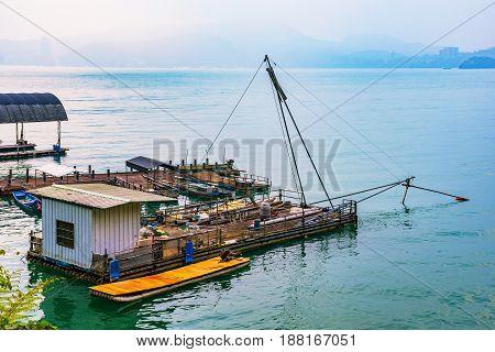 Fishing raft on a lake in Taiwan