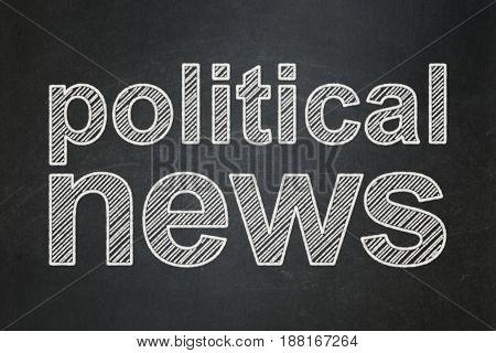 News concept: text Political News on Black chalkboard background