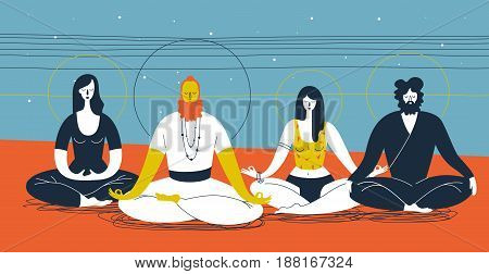 Group of people sitting in yoga posture and meditating against abstract blue and orange background with horizontal lines and circles. Concept of collective spiritual practice. Vector illustration.
