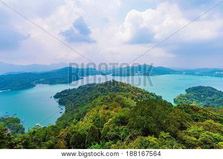 Scenic view of Sun Moon Lake in Taiwan
