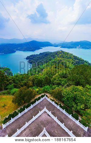 View of Sun Moon Lake with Ci'en pagoda temple grounds