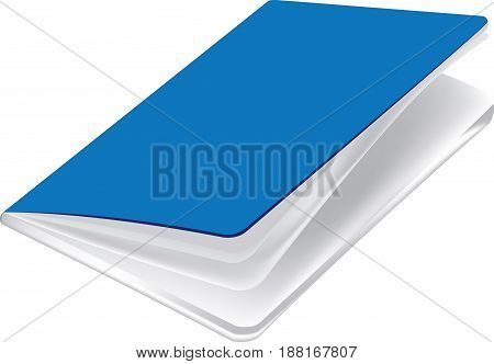Blue notebook with white papers for school use