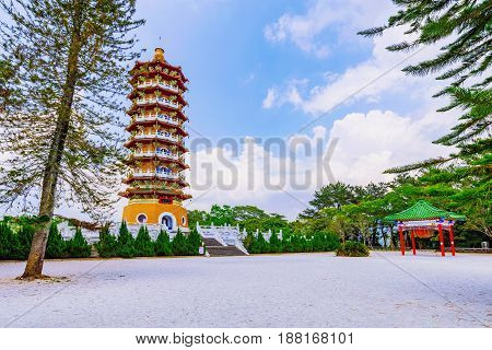 Ci'en Pagoda traditional architecture and nature in Taiwan