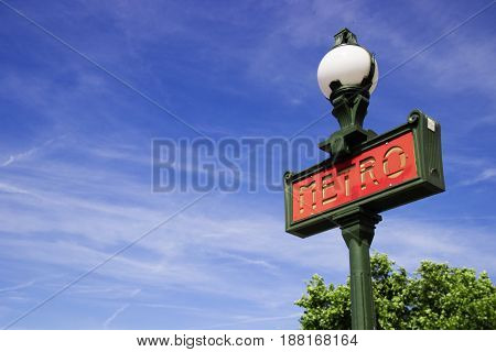 Red metro sign in Paris, France. Paris metro Subway sign. Photo stock.