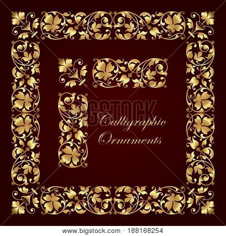 Golden decorative calligraphic ornaments, corners, borders and frames for page decoration and design