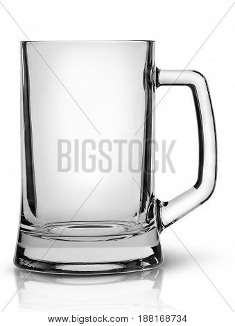 In front empty beer mug isolated on white background