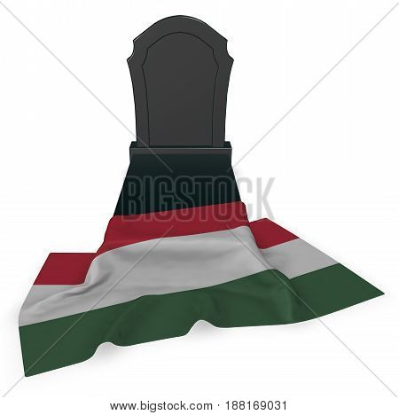 gravestone and flag of hungary - 3d rendering poster