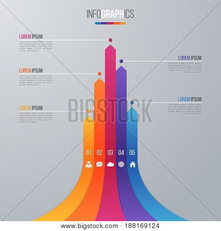 Bar chart infographic template for data visualization with 5 options. Easy to edit and to build your own chart.