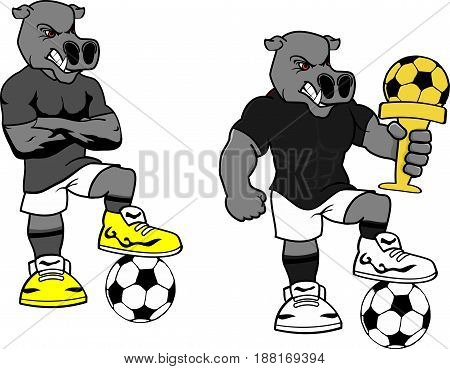 soccer futbol strong hippo cartoon set in vector format very easy to edit