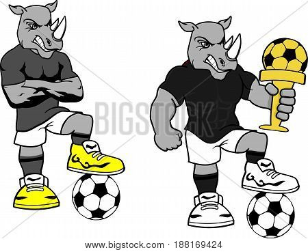 soccer futbol strong rhino cartoon set in vector format very easy to edit
