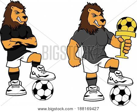 soccer futbol strong lion cartoon set in vector format very easy to edit