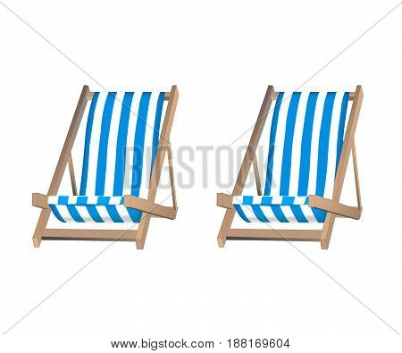 isolated two deckchairs on a white background