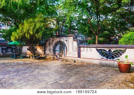 TAIPEI TAIWAN - APRIL 30: Courtyard of the Lin family mansion and garden which is a historic sight in the Banqiao district on April 30 2017 in Taipei
