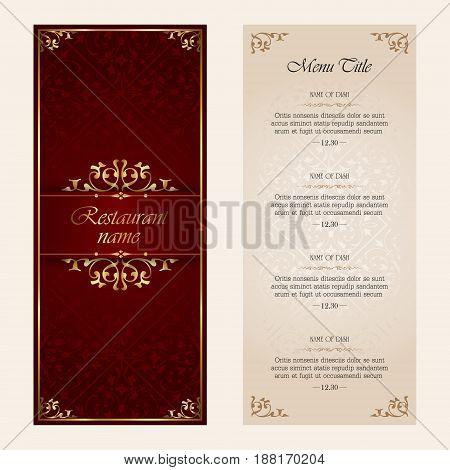 Restaurant menu vector design template - vintage style