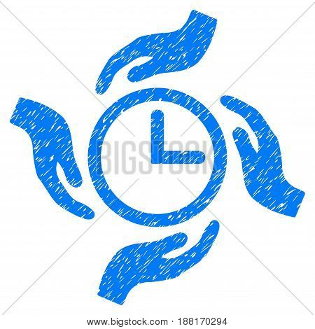 Grunge Time Care icon with grunge design and scratched texture. Unclean vector blue pictogram for rubber seal stamp imitations and watermarks. Draft sticker symbol.