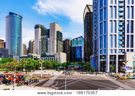 TAIPEI TAIWAN - APRIL 30: This is a view of Banqiao district modern architecture and high rise buildings in New Taipei on April 30 2017 in Taipei