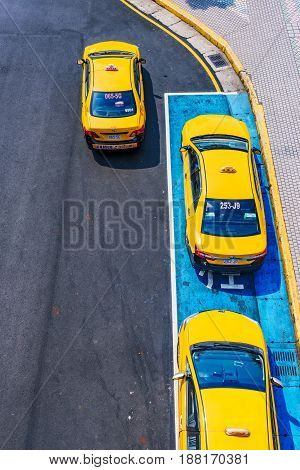 TAIPEI TAIWAN - APRIL 30: This is an aerial view of Taxis waiting at a taxi rank in the Banqiao district of new Taipei city on April 30 2017 in Taipei