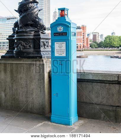 Police telephone box - no longer used - in London UK