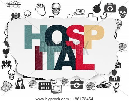 Medicine concept: Painted multicolor text Hospital on Torn Paper background with  Hand Drawn Medicine Icons