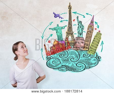 Portrait of cheerful european woman on concrete background with travel sketch