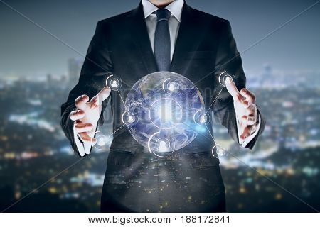 Man holding globe with connections on city background. Double exposure. Network concept.