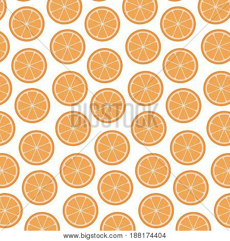 white background with pattern of orange fruits sliced vector illustration