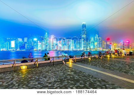 View of Hong Kong Island financial district from pier at night