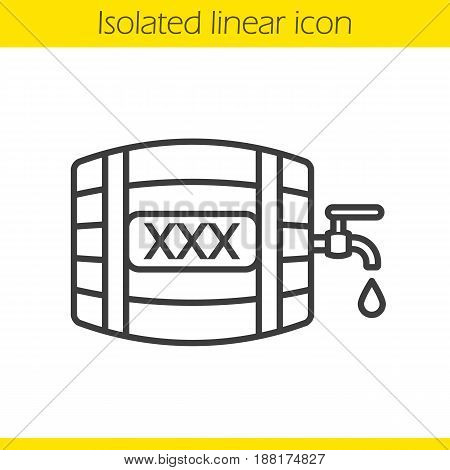 Alcohol wooden barrel linear icon. Thin line illustration. Whiskey or rum barrel with tap, drop and xxx sign. Contour symbol. Vector isolated outline drawing